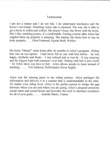 Click on testimonial to read the full size version.